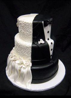 bride & groom split wedding cake