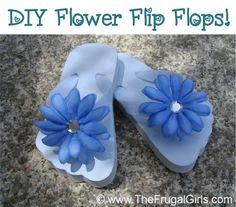 How to Make Cute Flower Flip Flops! ~ from TheFrugalGirls.com #flipflops