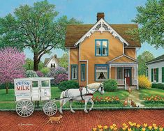 Bits and Pieces - 300 Piece Jigsaw Puzzle for Adults x - The Next Stop - 300 pc Classic Milkman Delivery Jigsaw by Artist John Sloane Country Walk, Country Life, Coloring Book Art, Cottage Art, Country Scenes, American Artists, Old Houses, 1000 Piece Jigsaw Puzzles, Home Art