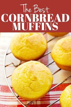 Perfect Cornbread Muffins Recipe - a no-fail recipe for the best cornbread muffins, no store-bought mix needed. These muffins are fluffy and delicious! Buttery Cornbread Recipe, Sweet Cornbread Muffins, Buttermilk Cornbread, Homemade Cornbread, Cornbread Recipes, Cornbread Muffin Recipe Jiffy, Fluffy Muffins Recipe, Corn Muffins, Homemade Breads