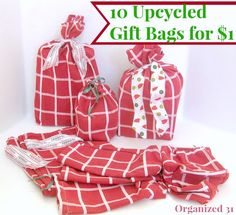 Upcycled Gift Bags -- To see more: http://organized31.com/2013/12/frugal-upcycled-fabric-gift-bags.html