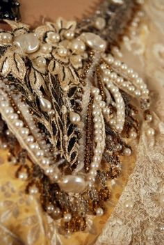 Antique Vintage Edwardian Beaded Silk and Lace Opulent Couture WeddingGown Couture Embroidery, Pearl And Lace, Linens And Lace, Vintage Textiles, Types Of Fashion Styles, Crystal Beads, Costume Jewelry, Antique Jewelry, Jewelery