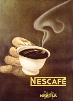 Nescafe, Schupach, 1940 courtesy of Vintage Advertising and Poster Art Coffee Advertising, Vintage Advertising Posters, Vintage Advertisements, Vintage Posters, School Advertising, Advertising Campaign, Pub Vintage, Vintage Coffee, Plakat Design