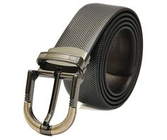 -Highest Quality Reversible BLACK-BROWN ITALIAN -Leather Belt with STYLISH Pattern. -Grey Tone and Golden Finish Frame and Prong Metal Buckle. Belt Strip Width: 34mm