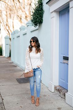 haute off the rack, white lace crochet top, distressed jeans, gg marmont matelasse shoulder bag, rayban round sunglasses, steve madden, ava sandals, womens fashion, womens handbag, spring style, julie vos jewelry, liketoknow.it app, white statement top, spring outfit