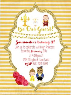 Beauty and The Beast invitation card will be edited with your information! Message me and I can work with you on wording, etc. This is a one-time digital download. I do not print cards, but Im happy to recommend printing for your specific needs. You will be e-mailed a proof, when you are satisfied with the design I will e-mail you a .jpeg file. This invitation is designed to be printed in 5 x 7 size, but may be printed in any size.