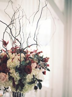 Burgundy and Blush Tall Centerpieces The French Bouquet Tulsa, Ok Spain Ranch Photos: Kelbert McFarland Photography