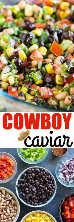 Cowboy Caviar is THE BEST! Even if you make the most gigantic bowl ever at your next party, you won't have leftovers. My family is OBSESSED. Cowboy Dip, Cowboy Caviar Dip, Cowboy Crack, Texas Caviar Dip, Mexican Caviar, Cowboy Salad, Mexican Bean Dip, Cowboy Beans, Fancy Camping Food