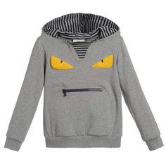 Fendi Boys Grey 'Monster' Face Sweatshirt at Childrensalon.com
