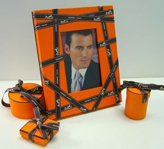 Handmade Orange Lacquered 4x6 Picture Frame Faux Leather w/HERMES Ribbon Bolduc