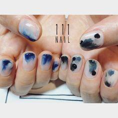 海と山 #nail#art#nailart#ネイル#ネイルアート#sea#mountain#抽象アート#クリアネイル#nuance#ennui#collection#cool#ショートネイル#ネイルサロン #nailsalon#表参道 by 111nail_omotesando