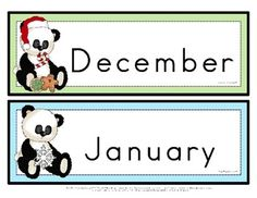 Educational calendar display set. There are 12 sets of numeral cards included in this file.  The numerals are 1-31.  A new set of numeral cards can be used for each month of the year. The numeral cards are presented with a cute panda bear accompanied with a seasonal item. Includes headers for the months of the year, days of the week, seasons, year, and weather picture/word cards. $ Two Year Olds, Year 2, Months In A Year, Kindergarten Classroom, Classroom Themes, Classroom Organization, First Grade, Second Grade, Peach Rooms