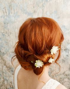 Bohemian hair pins, white flower bobby pins, woodland hair clips, bridal accessories - woodland sprite. $24.00, via Etsy.