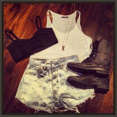 Outfit and combat boots