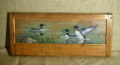 Unique hand painted artwork over reclaimed wood furniture. Hand painted furniture by ecustomfinishes.com