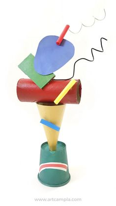 Free Printable| Miró Inspired Sculptures | Fine art for kids | Kids crafts | Joan Miro projects | paper crafts | recycled art | k-8 art lessons