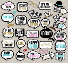 35 Sweet Sixteen Birthday photo booth by YouGrewPrintables on Etsy