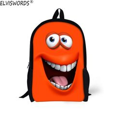 ELVISWORDS Funny 3D Emoji Face Printing Schoolbag for Childrens Boys Fashion Shoulder School Bags for Student Kids Mochila Bags