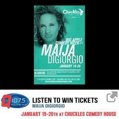 Listen to Win Tickets to MAIJA DIGIORGIO @ Chuckles Comedy House January 19-20th http://Q1075.com