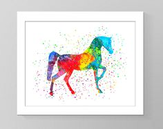 Watercolor Arabian horse printable art. Nursery room decor, horse wall art, watercolor wall decor, kids room decor, birthday gift print by GecleeArtStudio on Etsy