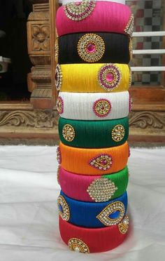 To order WhatsApp 9442146383 Silk Thread Bangles Design, Silk Thread Necklace, Silk Bangles, Bridal Bangles, Thread Jewellery, New Jewellery Design, Bangles Making, Paper Earrings, Silk Art