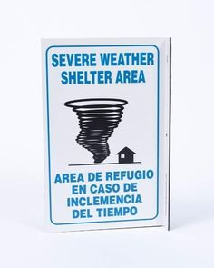 ZING Eco Safety L Sign, Severe Weather Bilingual, 11Hx2.5Wx8D, Recycled Plastic