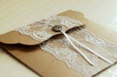 Kraft Paper CD Case with Lace Trim by DesignCrushStudio on Etsy