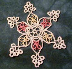 Flutterflake Tatting (type of lace) pattern Needle Tatting, Tatting Lace, Snowflake Pictures, Overhand Knot, Types Of Lace, Hairpin Lace, Holiday Crochet, Tatting Patterns, Lace Making