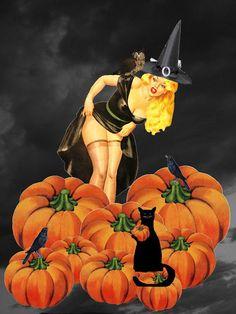 ☆ Halloween Pin Up Girl :¦: Artist Unknown ☆