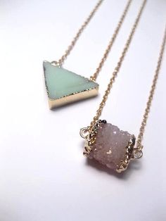 Amazonite Triangle Necklace Trimmed In 24k by FashionCrashJewelry