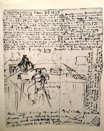 """""""Diary sketch by English author of Wuthering Heights Emily Brontë, showing herself and sister Anne working in the dining Moleskine, Emily Brontë, Bronte Sisters, Commonplace Book, Collage Background, Artsy Photos, S Diary, Charlotte Bronte, Wuthering Heights"""