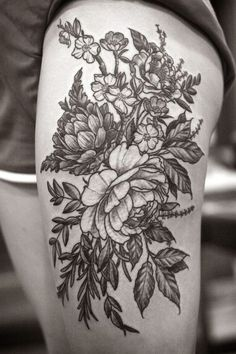 ... Coolest Black Floral And Flower Tattoo Design On Thigh: