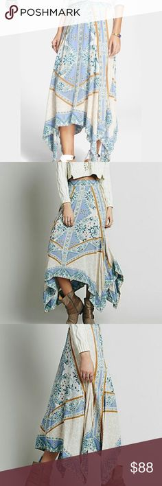 Free People Maxi Skirt Free People Women's Traveler Voile Skirt Pearl Combo; mint condition; uneven hem; elastic waistband; really cute for this summe Free People Skirts Maxi