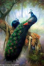 """Beautiful Handmade Large Oil Painting On Canvas Art """"Peacock""""(no framed)"""