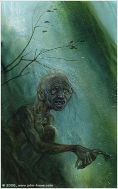 John Howe :: Illustrator Portfolio :: Home / From Hobbiton to Mordor / Cards and Such / Gollum John Howe, Epoch, Middle Earth, Lord Of The Rings, Tolkien, Lotr, Dark Art, The Hobbit, Dark Side