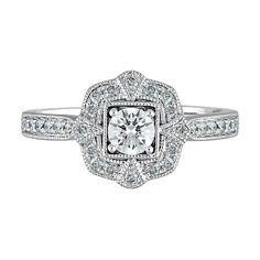 TRULY™ Zac Posen 5/8 ct. tw. Diamond Halo Engagement Ring in 14K White & Yellow Gold - 2198033