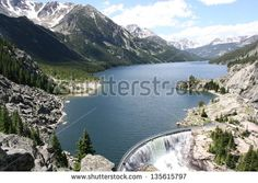 Mystic Lake Dam is a two-unit hydroelectric plant on the west Rosebud Creek in the Beartoooth mountains about 75 miles southwest of Billings, Montana, USA. - stock photo