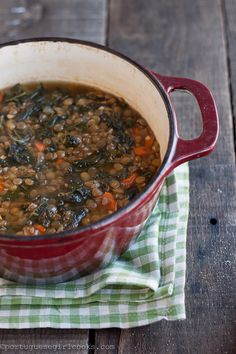 Kale and Lentil soup- sounds good but I can't imagine the kale being tasty after sitting in soup...