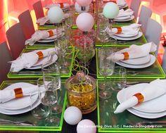 Fluorescent Green Glass Placemats Dinner Decor   The Decorating Diva, LLC