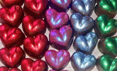 Home made chocolates filled with peanut butter and decorated with non toxic glitter