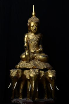 19th C., Rare & Large Burmese Wooden Seated Buddha on Three Elephants