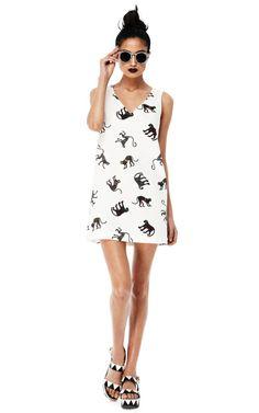 Monkey Print V-Neck Dress by MSGM Now Available on Moda Operandi
