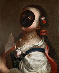 """ The Moretta mask is one of the most traditional designs of Venetian  female masks."