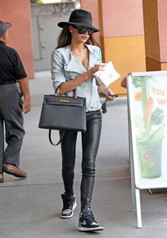 Naya Rivera is a sartorial dream in our L8007 Leather Legging in Black. #LittleBlackJean