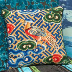 This vibrant design featuring a pheasant, a symbol of nobility, comes from an 18th century dragon robe, the everyday dress of the emperors of China. Needlepoint Designs, Needlepoint Pillows, Needlepoint Kits, Homer Decor, Beadwork Designs, Textiles Techniques, Cross Stitch Art, Chinoiserie Chic, Victoria And Albert Museum