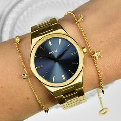 Glas Art, Gold Watch, Watches, Accessories, Classic Elegance, Minerals, Stainless Steel, Blue, Wristwatches