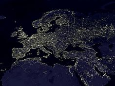 The Night Lights of Europe (as seen from space) (by woodleywonderworks)