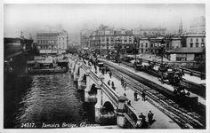 Horse drawn trams on Jamaica Bridge in Glasgow in the 19th Century