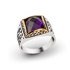 Visit our store... Men Ring 925 Silver, Purple Tourmaline Size 8-9-10-11 US Men's Gemstone Jewelry