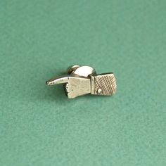 Pointing Hand Lapel Pin Silver by Kaye Blegvad, on Fab.com.